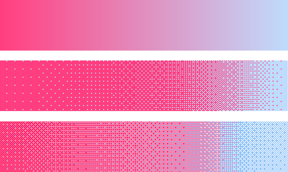 Coloured gradient (top), the hue-only dithered version (middle), and hue-lightness dithering (bottom)