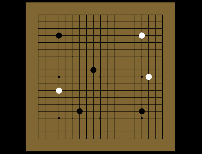 A Go board with stones